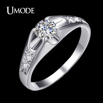 UMODE Fashion White Gold Color Mounting 0.5 ct CZ Cubic Zirconia Wedding Jewelry Rings JR0064B