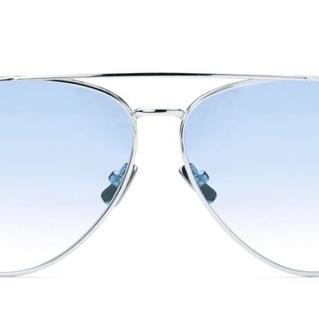 Italia Independent - Forrest Glossy Silver Sunglasses / Shaded Cosmetic Blue Lenses