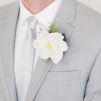 "Gardenia and Berry Boutonniere with Pine Cone - 4"" Tall"