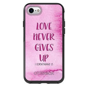 DistinctInk™ OtterBox Symmetry Series Case for Apple iPhone / Samsung Galaxy / Google Pixel - 1 Corinthians 13 - Love Never Gives Up