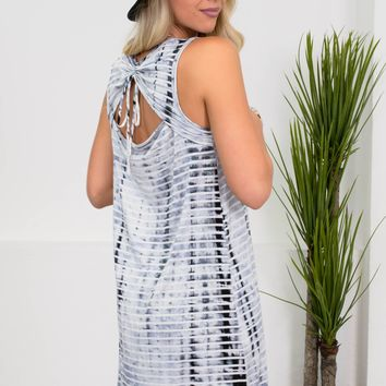 Sky Striped Tie-Dye Dress