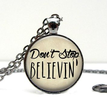 Don't Stop Believin Quote Necklace: Charms. Art. Gunmetal Jewelry. Quote Jewelry. Handmade Jewelry. Lizabettas