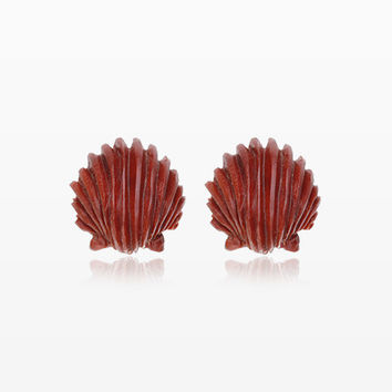 A Pair of Ariel's Shell Handcarved Wood Earring Stud