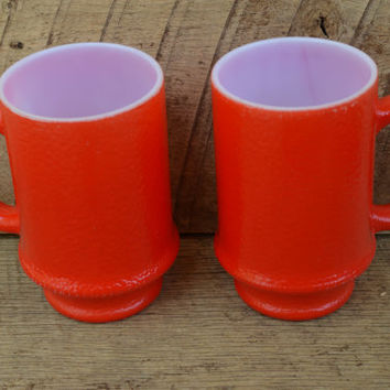 Red Milk Glass Coffee Mugs Set of Two Vintage Textured Exterior