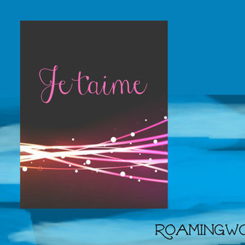 Romantic Quote 'Je t'aime' Digital Download Home Decor Digital Art, Print, Digital, Printable Art, Wall Decor, Printable Art