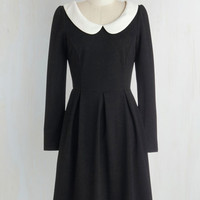 Vintage Inspired Mid-length Long Sleeve A-line Record Store Date Dress in Black