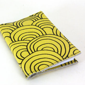 chartreuse circles.clouds.waves.scales Leather Notebook (refillable)- christmasinjuly