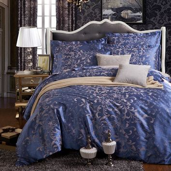 2016 jacquard lake blue satin 4pcs bedding sets including duvet cover bed sheet pillowcases set twin king queen full size.