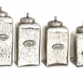 Set of 4 Numbered Mercury Glass Jars with Lids