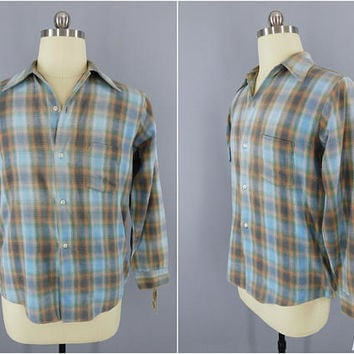 Vintage 1970s Flannel Shirt / 70s Men's Plaid Shirt / JC Penney's / Blue Tan Tartan Plaid / Size Medium