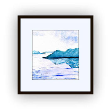 Lake watercolor painting abstract australian landscape mountain wall art print blue earth color forest decor decal print small living room