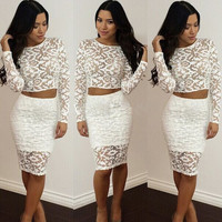 White Crochet Long Sleeve Cropped Top and High Waisted Midi Skirt