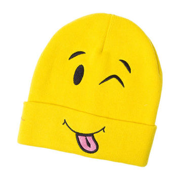 Yellow Emoji Knit Beanie Hat