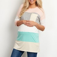 Light-Pink-Multi-Colored-Colorblock-Maternity-Top