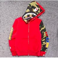 BAPE street fashion camouflage sleeve stitching plus velvet hooded loose sweater F-A-KSFZ Red