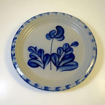 Cobalt Flowers Pie Plate Gray Stoneware Pottery 10 inch Wheel Thrown Salt Glaze Firing American Primitive  Eldreth Pottery 1989