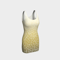 Ombre yellow and white swirls doodles Bodycon Dress Bodycon Dress