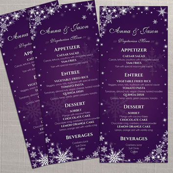 DIY Printable Wedding Menu Template | Editable MS Word file | 4 x 9.25 | Instant Download | Winter White Snowflakes Dark Purple