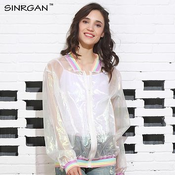 SINRGAN Hiphop Hipster Sexy Punk Rock Summer Rainbow Collar Organza Loose Laser Jacket Baseball jackes Sunscreen Clothing