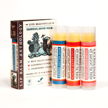 Tropical Drink Lip Balm Set - All Natural - Blue Island Breeze, Caribbean Punch, Strawberry Colada