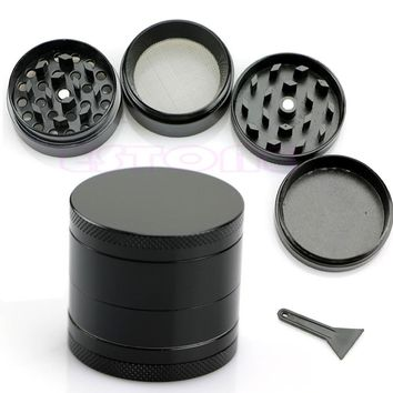 2015 Modern Nice 4 Layers Metal Tobacco Crusher Hand Muller Smoke Herbal Herb Grinder Black