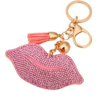 Cute Tassels Leather Keychain adorned with Clover Crystal on one side leather on the other