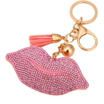 FLORAL ROSES BAG PURSE KEY CHAIN CHARM CRYSTAL CLOVER TASSEL DARK HOT PINK