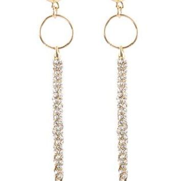 Pave Crystal Stone Long Metal Spike Post Pin Earrings