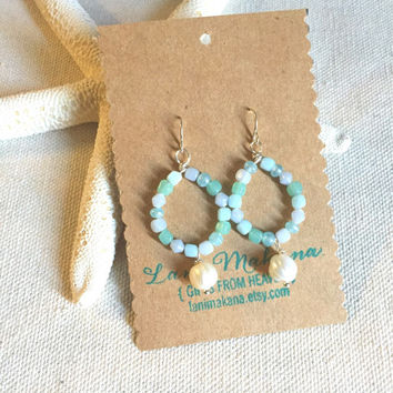 Aqua Hoop Earrings - Beach Glass Earrings - Pearl Hoop Earrings - Sea Blue Earrings - Beach Wedding Jewelry - Beach Boho Earrings