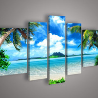 5 Panel Wall Art Oil Painting On Canvas blue sky and white clouds sea Paintings Pictures Decor painting large living room F/2892