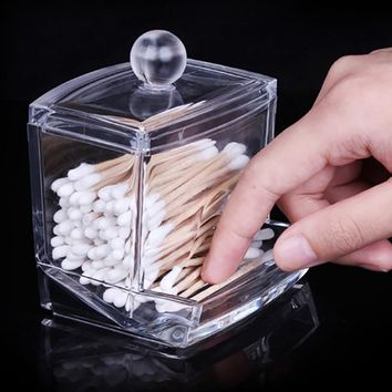 Clear Acrylic Storage Holder Box Transparent Cotton Swabs Stick Cosmetic Makeup Organizer Case High Quality New