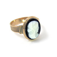 Antique Hardstone Cameo Ring, 14K Rose Gold, Victorian Oval Hand Carved Black White Sardonyx High Relief, Size 8, Original Case