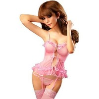 Amazon.com: Intimates21 - Sexy Lingerie Pink Sheer Lolita Mini Babydoll Cami Sets /W Garters: Clothing
