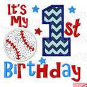 Baseball 1st Birthday Custom made appliqued, monogrammed, embroidered, Birthday/Letter tee shirts or one piece w/snaps, boys, girls