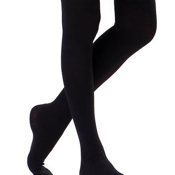 HDE Women's Knee High Stockings Solid Color Opaque Cotton Spandex Fashion Socks