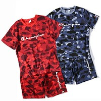 Bape X Champion Fashion Women Men Camouflage Print Short Sleeve Top Shorts Pants Sweatpants Set Two-Piece Sportswear