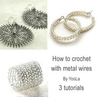 Make wire crochet jewelry , Ring, sunflowers and hoop earrings PDF tutorials