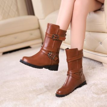 Round Toe Hasp Straps Low Chunky Heel Half Boots