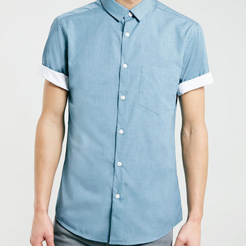 Short Sleeve Blue Smart Shirt - New This Week - New In - TOPMAN USA
