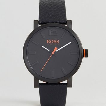 BOSS Orange By Hugo Bosse 1550038 Bilbao Leather Watch In Black at asos.com