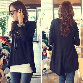 Women Clothes Korean Style Cotton Batwing T-shirt Tops Long Sleeve Irregular Fashion Blouse = 1946493252