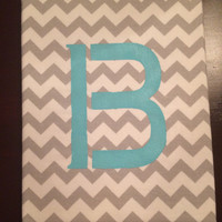 Chevron Grey and White Letter Wall Art