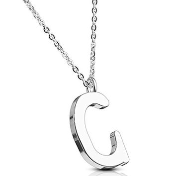 BodyJ4You Necklace Letter C Initial Alphabet Charm C Stainless Steel Chain