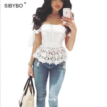 Lace Top off Shoulder Backless Bodycon