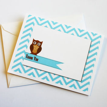Set of 6 Owl Thank You Cards on Aqua Chevron Background
