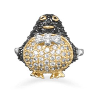 14 Karat Gold Plated Brass Penguin Ring with Cubic Zirconias