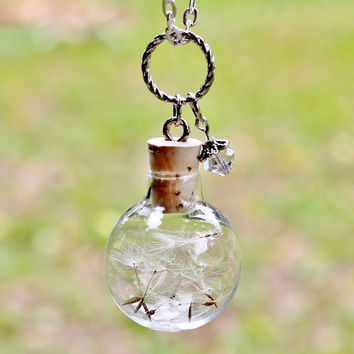 Dandelion Necklace Terrarium Necklace Nature Jewelry Glass Globe Pendant Crystal Pendant