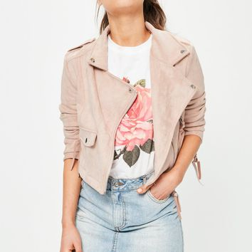 Missguided - Petite Exclusive Nude Bonded Faux Suede Biker Jacket
