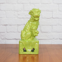 Lime Green Foo Dog Statue Female / Chinoiserie Hollywood Regency Home Decor