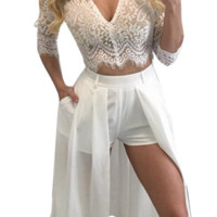 Women Lace V-neck Top and Short Pant Dress 2 Pieces Set